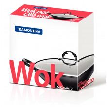 Panela wok com tampa de vidro 32 cm teflon Mônaco - Tramontina