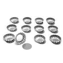 Conjunto de forminhas de torta de maçã crespas com fundo falso 10 cm 12 peças alumínio - Doupan