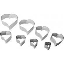 Conjunto de cortadores 8 peças inox Coração - Doupan