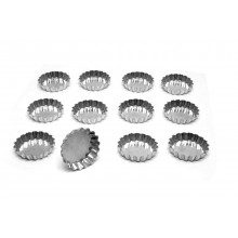 Conjunto de forminhas de torta de maçã crespas 9 cm 12 peças alumínio - Doupan