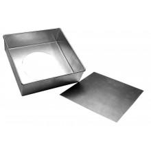 Forma quadrada com fundo falso 25X7 cm alumínio - Doupan